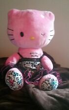 """18"""" Hello Kitty Plush Pink with Leopard Print feet and Frilly Dress"""