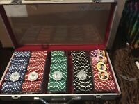 Phil Hellmuth Professional Poker Incomplete Set As Shown with Case & Keys  READ