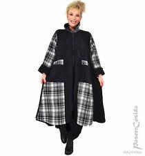 LAGENLOOK Fleece Glocken Mantel schwarz weiß XL-XXL-XXXL 46 48 50 52 54 56 58