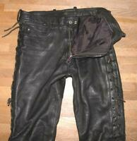 Hein Gericke Men's Lace-Up Leather Jeans/Leather Trousers With Red Zipp About
