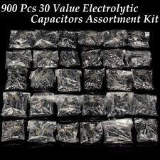 900Pcs 30 Value Electrolytic Capacitors Assortment Kit Black 0.1uF~1000uF
