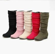 All US Size 4-15 Women Suede Mid Calf Slouch Boots Hidden Wedge Heels Shoes