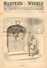 Political Cartoon, Quality Candidates Barred From Politics, 1888 Antique Print
