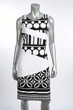 Joseph Ribkoff Blk/White Geometric Print Sleeveless Dress US 8 UK 10 New 172812
