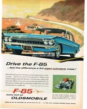 1961 OLDSMOBILE F-85 Blue 4-Door Sedan on Winding Mtn. Road art Vtg Print Ad