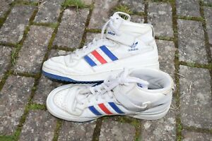 Adidas white leather Basketball High Tops Boots Trainers Mens Size UK 12 retro