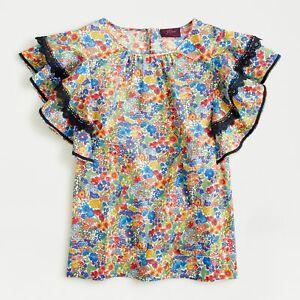 J Crew AJ405 NWT Lg Lace Trim Flutter Sleeve Top Liberty Margaret Annie Floral