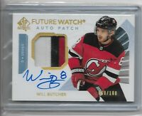 2017-18 SP Authentic hockey Future watch patch auto 3 CLR WIll Butcher /100