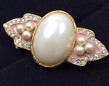 Cloisonne, Rhinestone Baroque Faux Pearl Pin Brooch