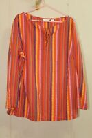 Liz Claiborne Womens 22 Boho Tunic Shirt Seersucker Stripe Lace Up Neckline L/S