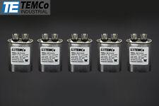 TEMCo 10 MFD uF Run Capacitor 370/440 vac Volts 5 LOT AC Motor HVAC 10 uf