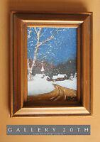 WOW! VTG WINTER SCENE OIL PAINTING! ART MID CENTURY ORIG CHRISTMAS 50S 60S SANTA