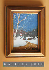 WOW! VTG WINTER SCENE OIL PAINTING! ART MID CENTURY ORIG CHRISTMAS 50S 60S SANTA