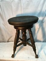 Antique Victorian  adjustable height  Piano Stool Glass Claw Feet