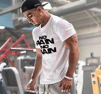 2018 Men Gym Muscle No Pain No Gain Fitness Sport Bodybuilding Sport T-shirt Tee