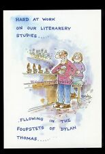 """BES032 - """"Following Dylan Thomas Foopsteps"""" in a Pub! - comic postcard by Besley"""