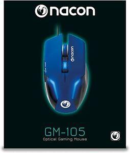Nacon Mouse da Gioco con Sensore Ottico (Blu) Wired