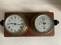 ANTIQUE BRASS SESTREL HENRY BROWNE & SON BARKING LONDON SHIPS CLOCK BAROMETER