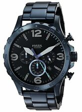 Fossil Men's JR1530 Nate Chronograph 50mm Blue Stainless Steel Watch