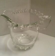Vintage Glass Miniature Creamer with Beaded Glass Rim Excellent Condition