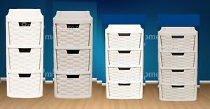 Plastic Rattan Drawer Storage Unit Cabinet  Small & Medium Office School Home