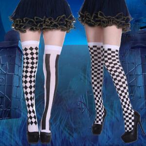 1 Pair Clown Costume Plaid Knee-High Long Socks Stockings Halloween Party ssAPU