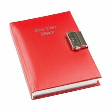 Five Year Undated Lockable Diary Red by Esposti NEW, Free Shipping