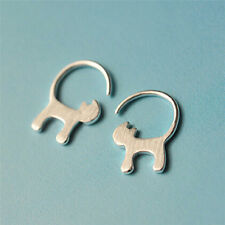 1Pair Silver Cute Long tailed Cat Earrings For Women Girl Lovely Kitty BH