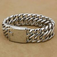 20mm Cool Heavy Mens Fashion Silver Wide Stainless Steel Chain Bracelet 8.5""