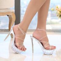 Women PVC Platform Gladiator Sandals Ankle Strap High Heels Stiletto Wedge Shoes