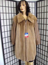 ! MINT SHEARED PASTEL MINK FUR & LEATHER JACKET COAT WOMAN WOMEN SZ 16-18