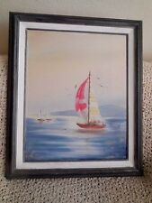 "Painting Nautical Sailboat Sunset   Signed  by artist 16"" x 20"" Original Framed"