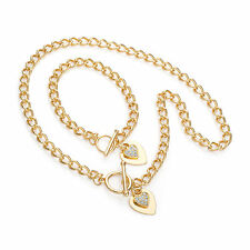 "Stunning 18"" gold tone crystal heart charm T bar chain necklace & bracelet set"
