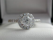 Diamond Halo Ring + 0.99ct tw + High Grade + Side Diamonds + 18ct Gold + FAB!