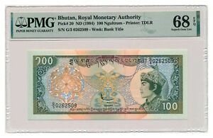 BHUTAN banknote 100 Ngultrum 1994 PMG MS 68 EPQ Superb Gem Uncirculated