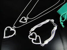 Fashion Accessories 925Sterling Silver Zircon Heart Necklace+Bracelet Set FS02