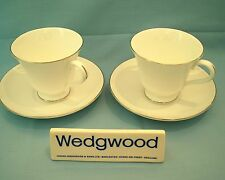 Wedgwood Signet Platinum 2 x Tea Cups & Saucers - Pristine/Used - Free Uk Post