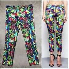 Maurie & Eve Green Lotus Tropical Paradise Floral Skinny Slim Jeans Size 10 L