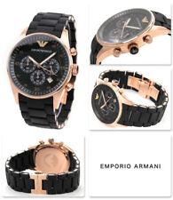 NEW EMPORIO ARMANI AR5905 CHRONOGRAPH ROSE GOLD SILICONE MENS WATCH
