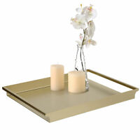MyGift Vintage Gold Metal Decorative Serving Vanity Tray with Cutout Handles