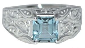 Sterling SILVER Blue Topaz Gents Ring, Mens Real Gem 925 Band All Sizes upto Z+3