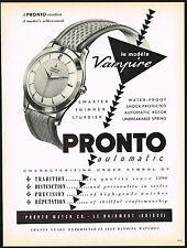 1950's Vintage 1953 Pronto Vampire Automatic Swiss Watch Mid Century Print AD