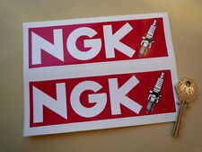 "NGK 6"" Pair Oblong 90's Superbike STICKERS GP F1 HONDA WSB Bike Motorcycle Car"