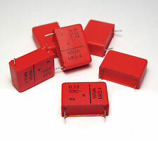 6x Wima MKS4 Kondensator, 0.22 µF / 630 V DC, Tone / Coupling Capacitors, NOS