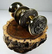 ANTIQUE SOLID BRASS DOOR KNOB HANDLE SET WITH VICTORIAN STYLE ORNATE # 3