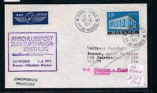 95594) LH FF München - Bremen 1.4.71, Brief ab Monaco R!