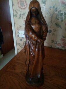 Statue en bois de chêne de la Sainte Vierge du XIXe 37cm