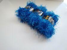 Bizzy1, Lion Brand Yarn, Fun Fur, Bright Blue  3 Skeins = 192 Yards