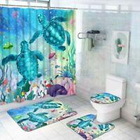 4Pcs Badezimmer Sea Turtle Set Duschvorhang Wasserfest Toilette Deckel Badematte