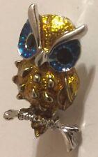 Vintage Blue And Gold Enamel Rhinestone Owl Brooch